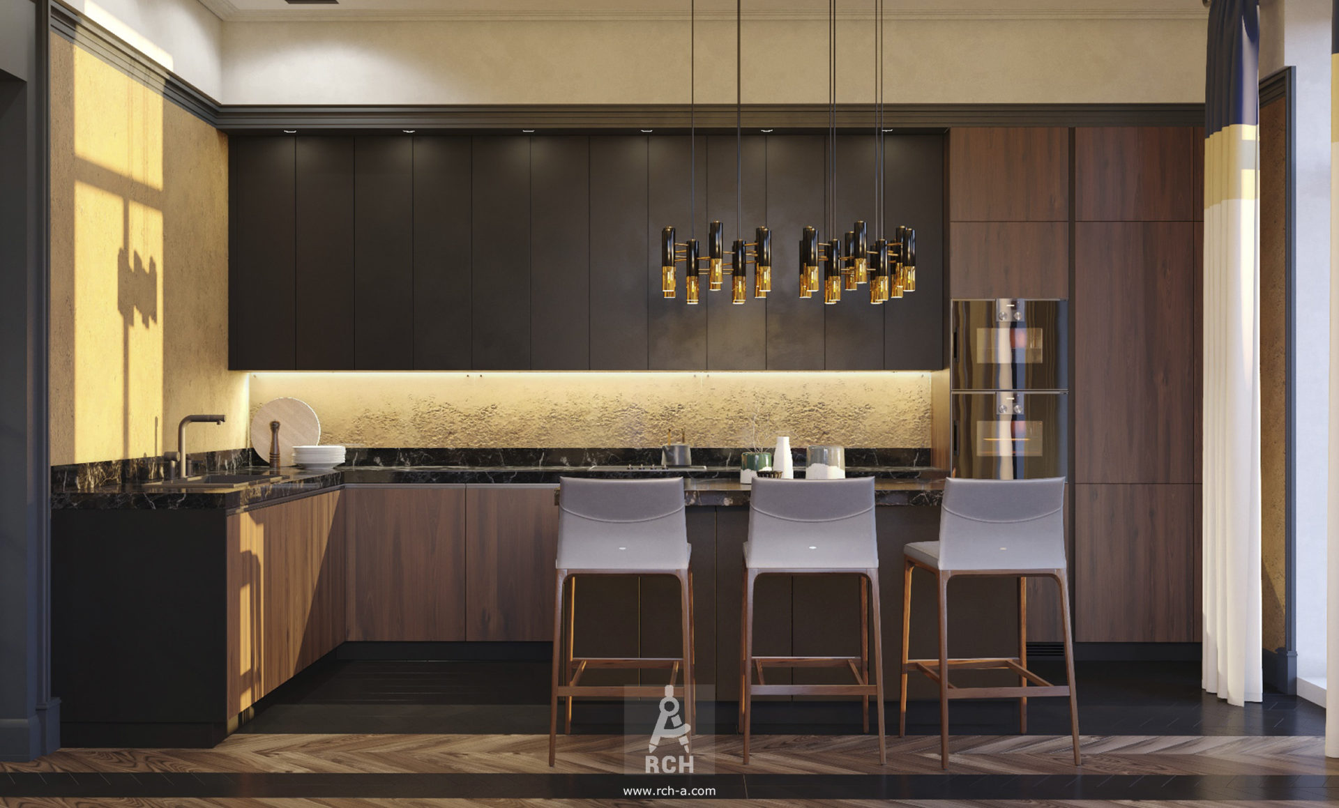 интерьер кухни в современном стиле с островом и золотом