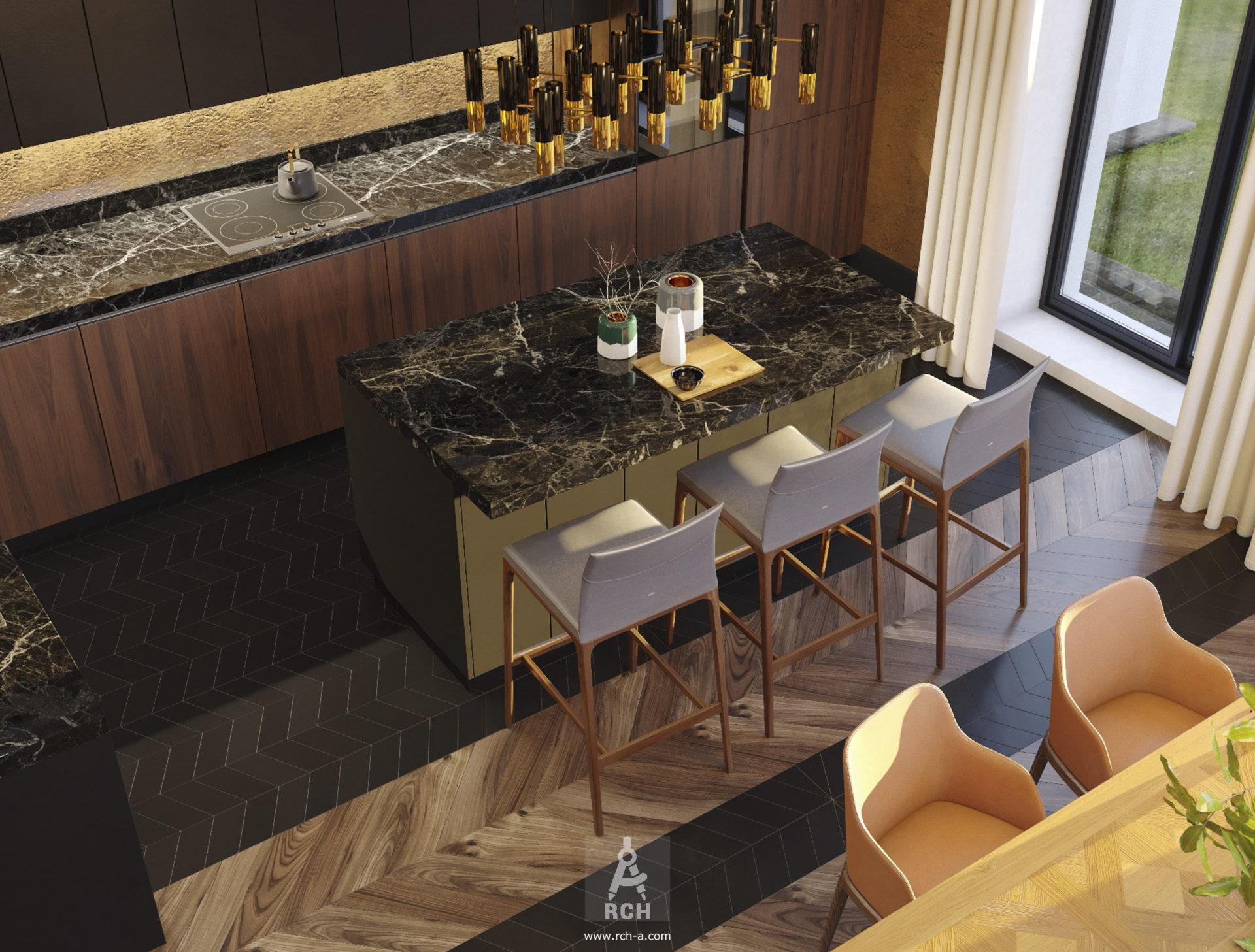 проект интерьера большой кухни с островом и столовой группой
