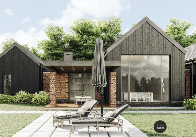 Одноэтажный мансардный дом в стиле barn-house
