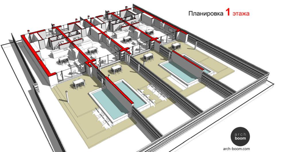 планы таунхауса с бассейном