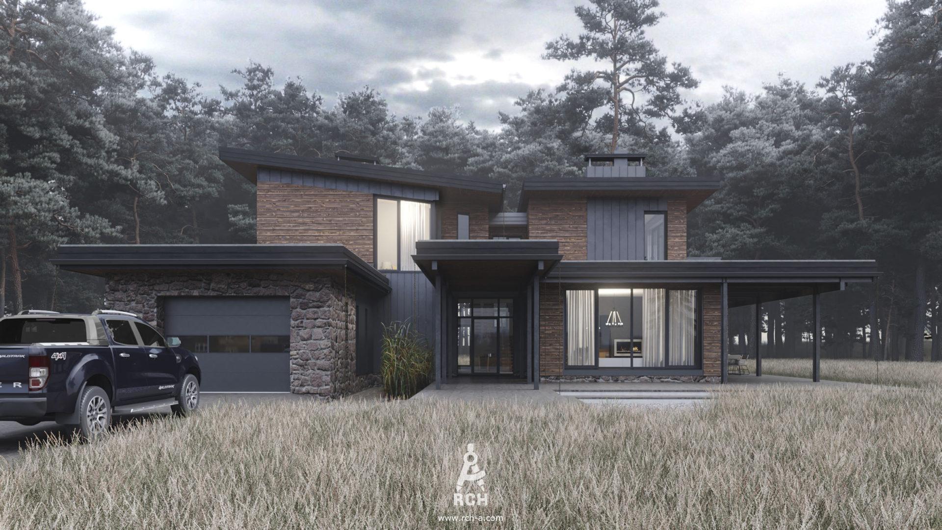 Частный дом с облицовкой деревом и фальцем