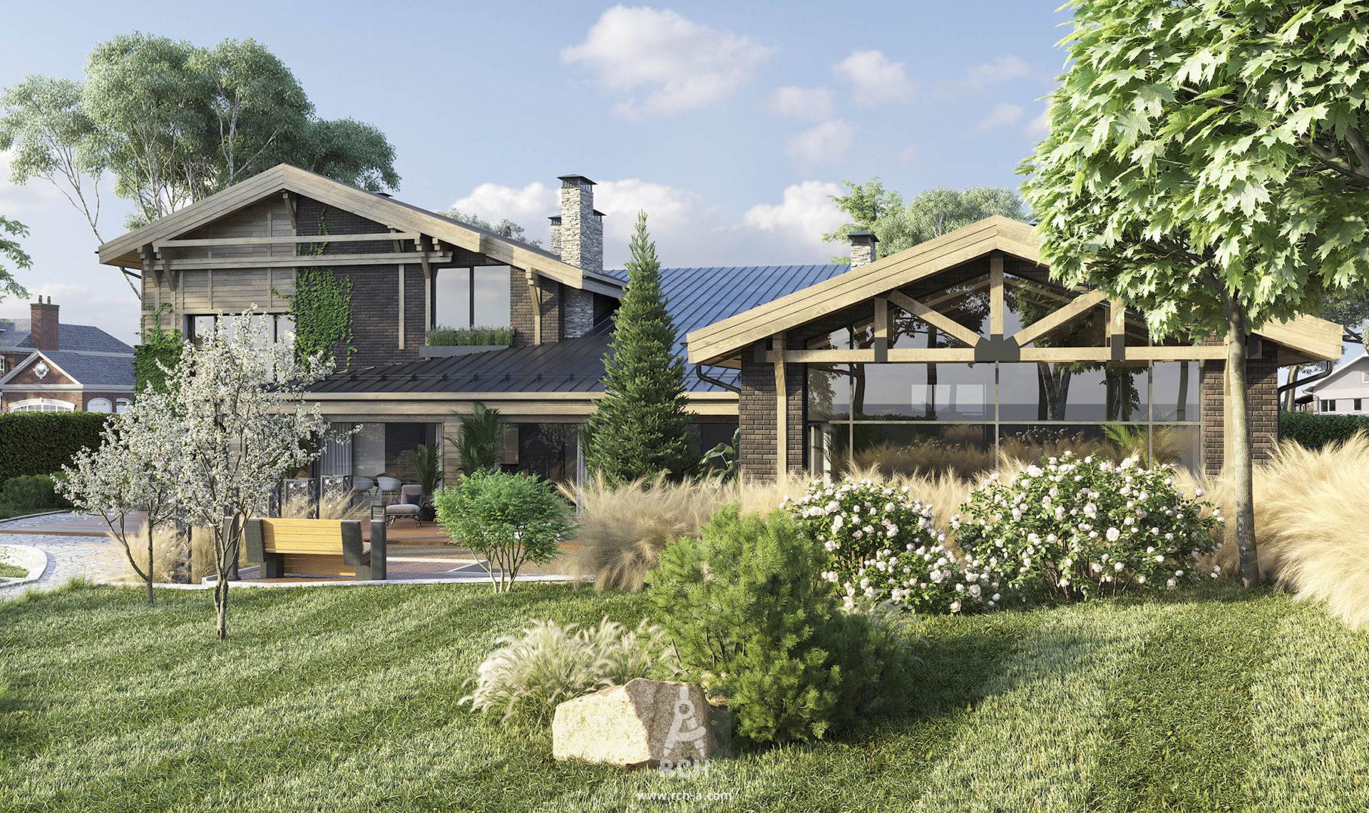 Проект дома в стиле современного шале с зоной СПА и бассейном