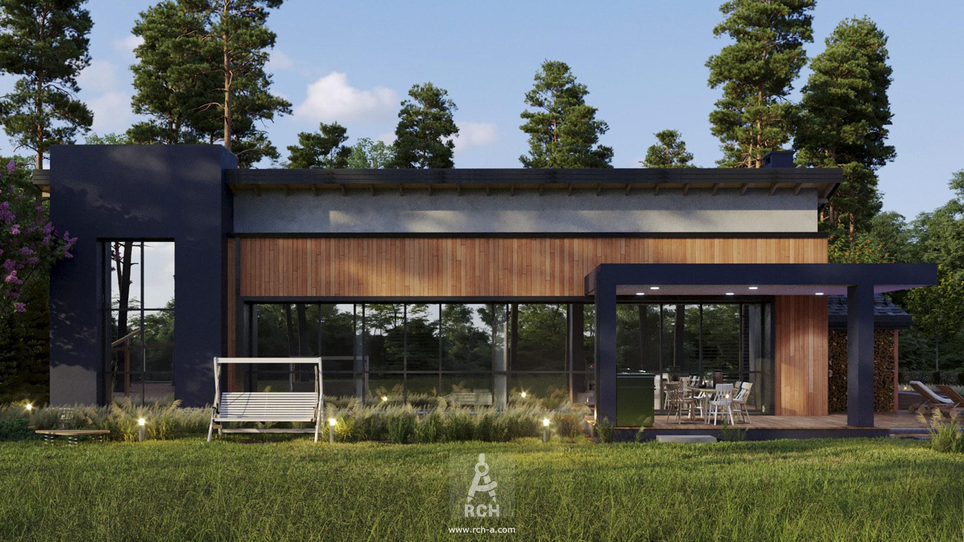 Проект современного дома с панорамным остеклением по южному фасаду