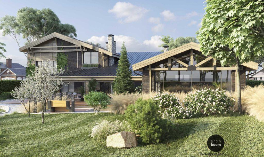 проект дома с бассейном и патио