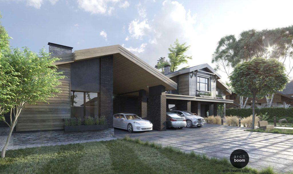 проект дома с большой крытой парковкой