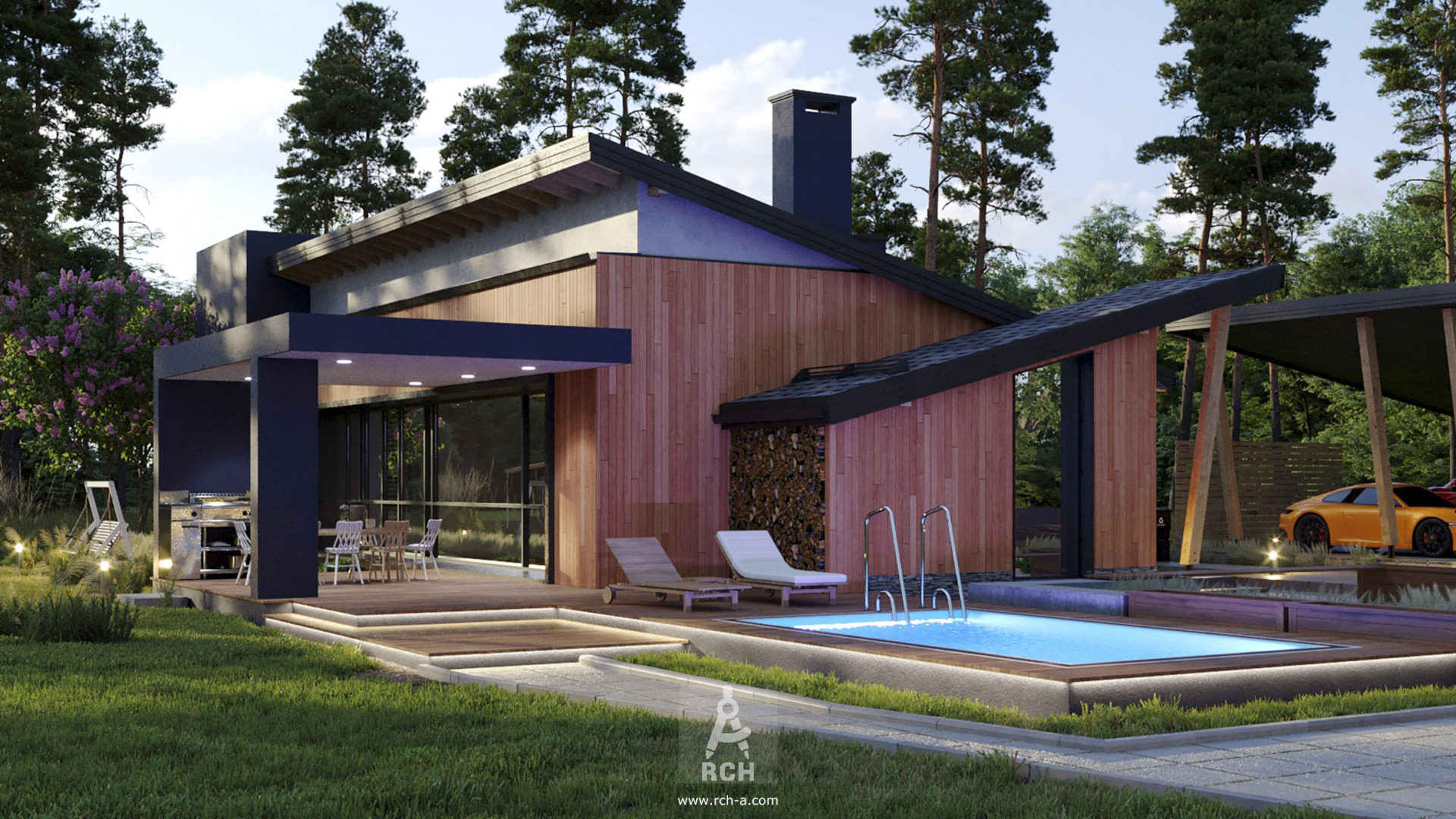 заказать проект современного дома с бассейном и панорамным остеклением