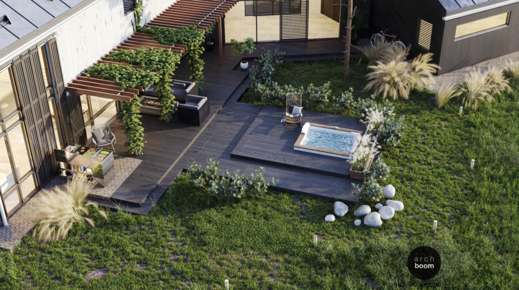проект ландшафта террасы с ванной спа
