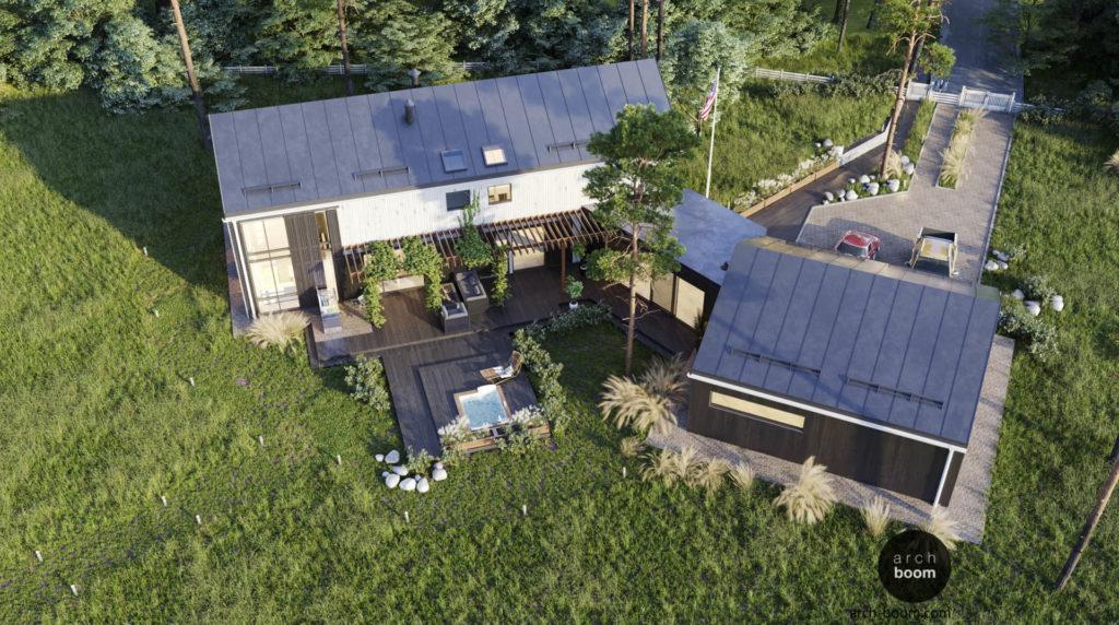 Проект нескольких домов, соединенных между собой галереей