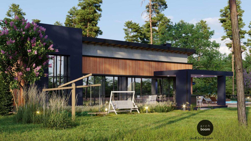 проект энергоэффективного одноэтажного дома в современном стиле