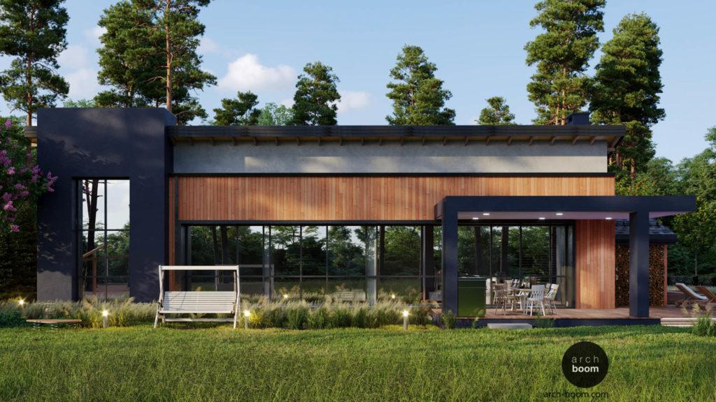 проект одноэтажного жилого дома с мансардной крышей