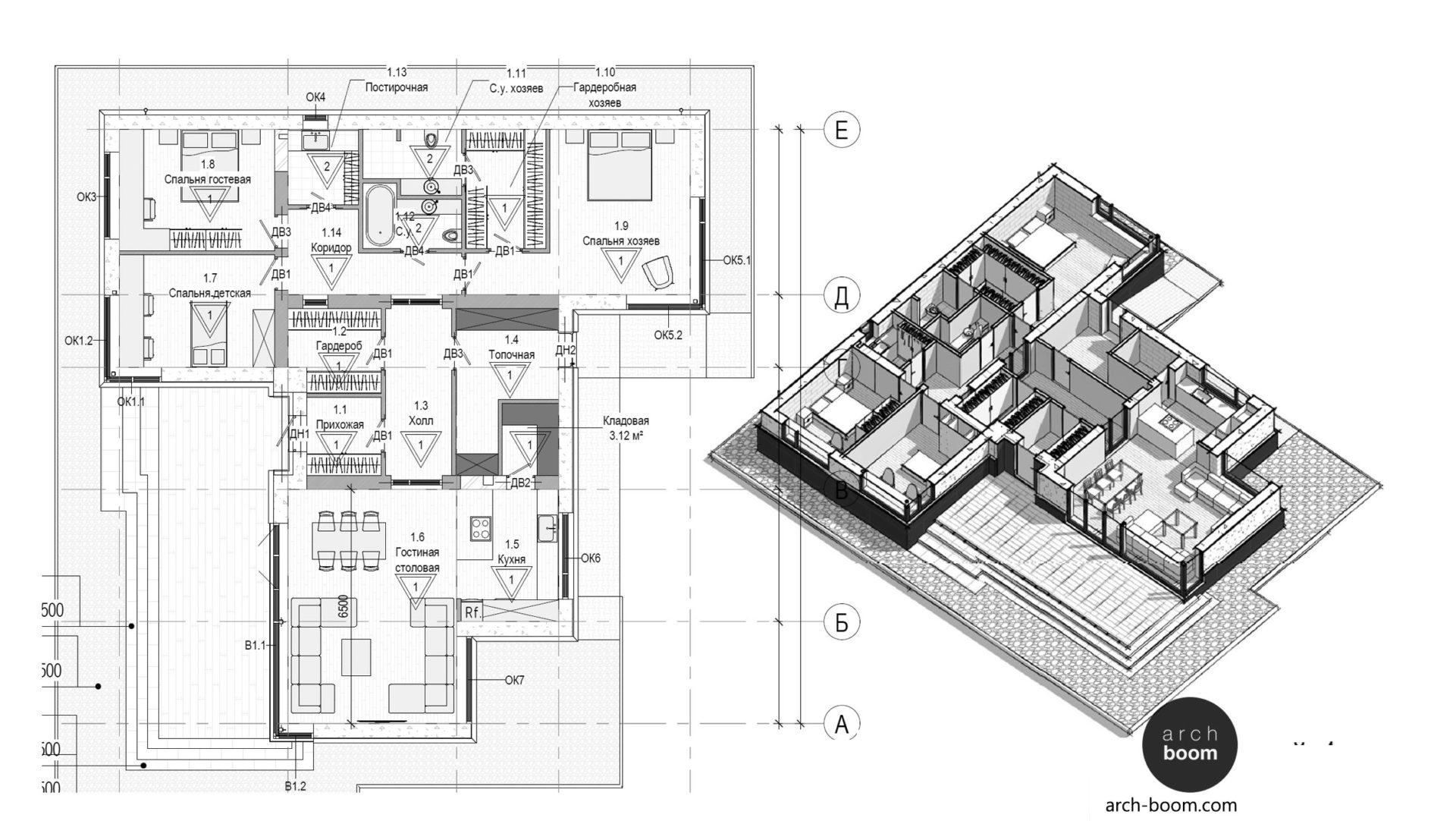 интересная планировка одноэтажного дома с остеклением