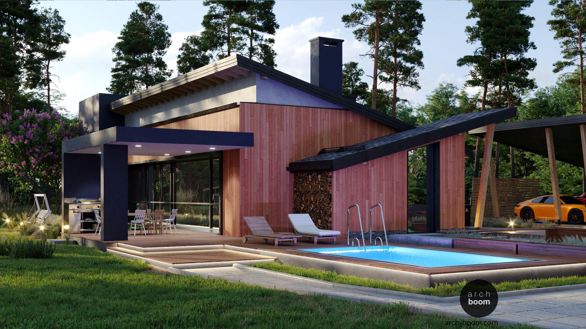 проект дома в современном стиле с односкатной крышей