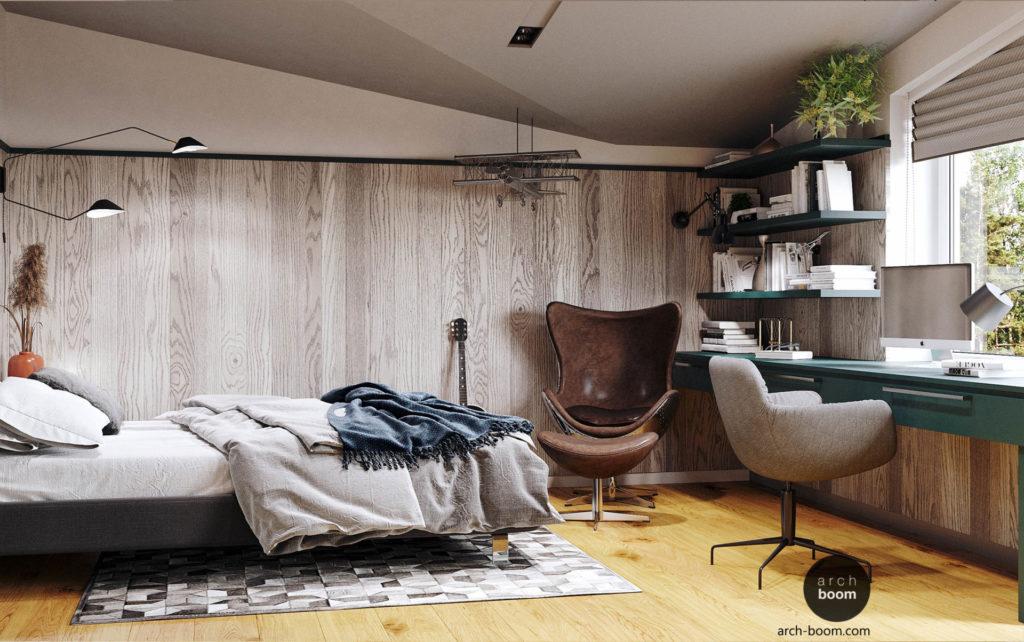 интерьер комнаты для подростка с рабочим местом и креслом авиатор