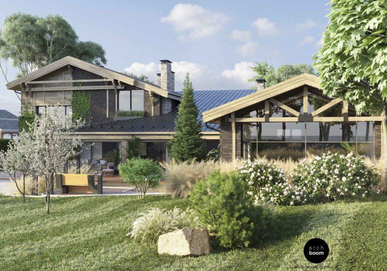 Проект частного дома в стиле шале с бассейном, общей площадью 700 м2