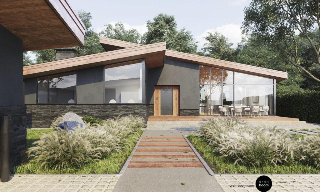проект одноэтажного частного дома с большим остеклением