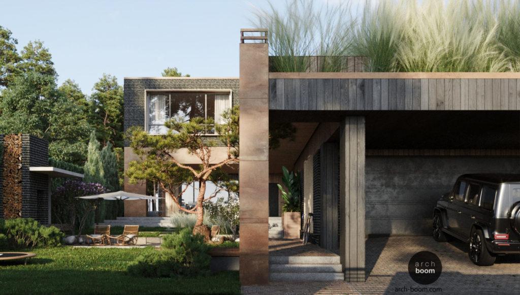 Современная частная архитектура, жилой дом с террасой на крыше