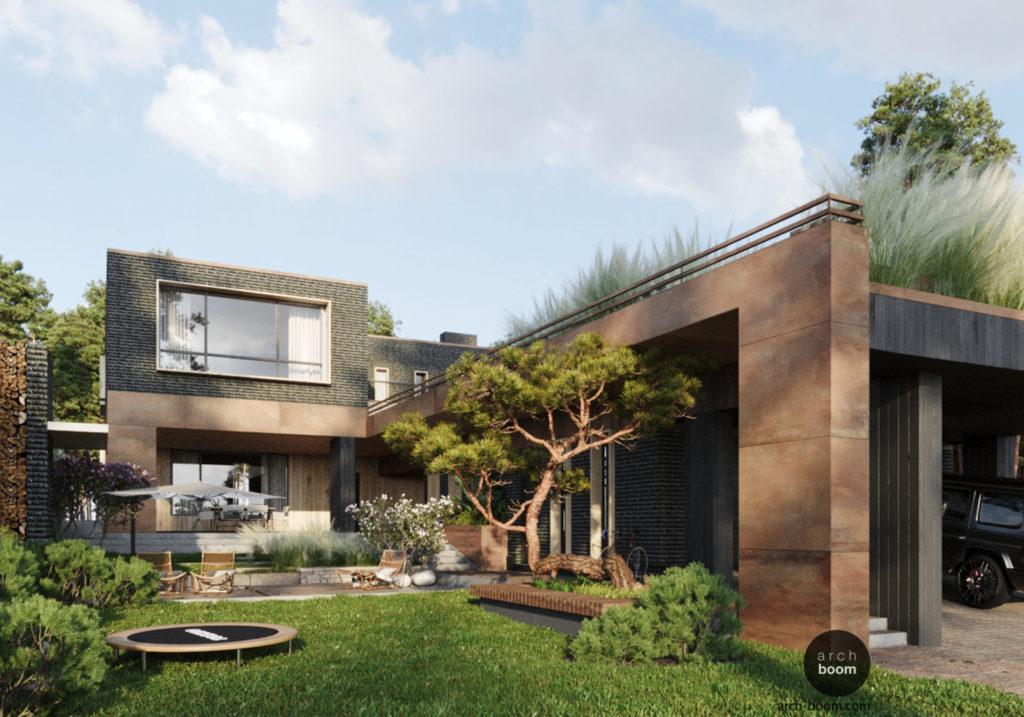 современный двухэтажный дом из кирпича и кортеновской стали