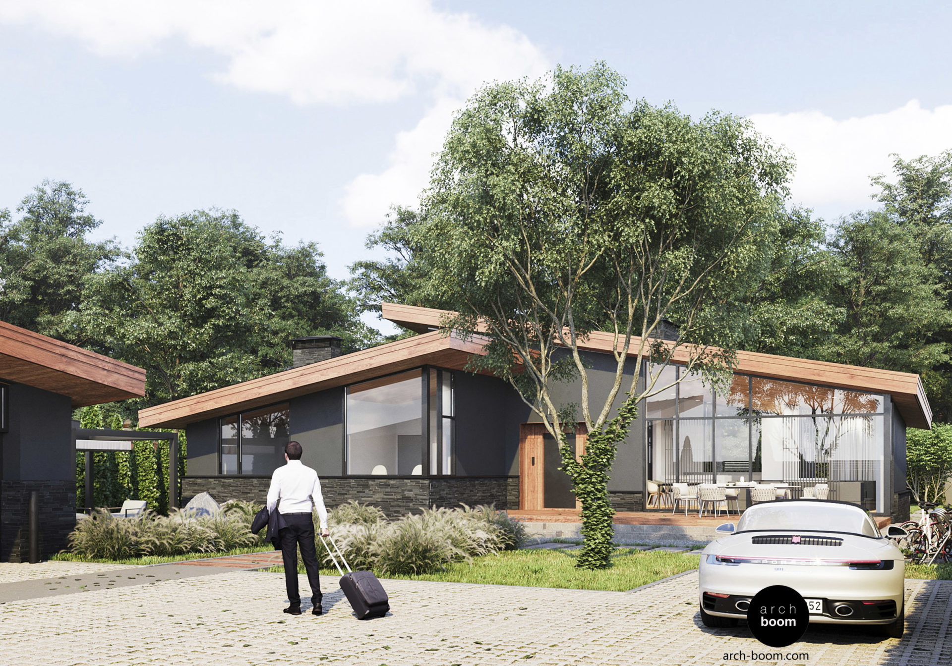 одноэтажный дом в скандинавском стиле с большими витражами и пологой крышей
