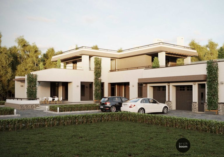Вилла. Проект современного дома с плоской крышей