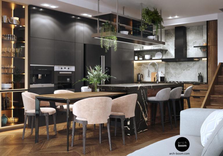 Интерьер профессиональной кухни с островом в частном доме