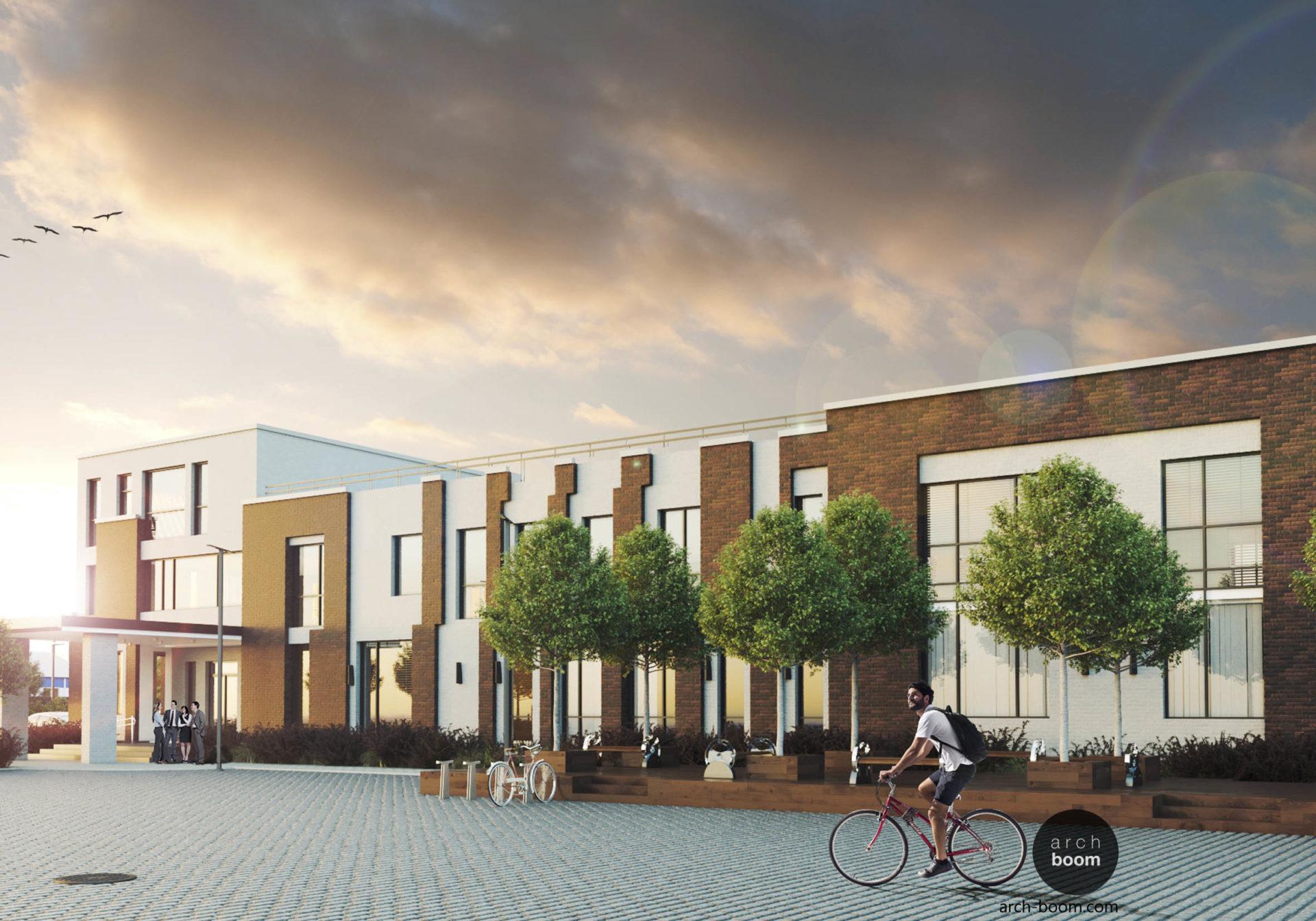 проект трехэтажного офисного центра с плоскими эксплуатируемыми крышами
