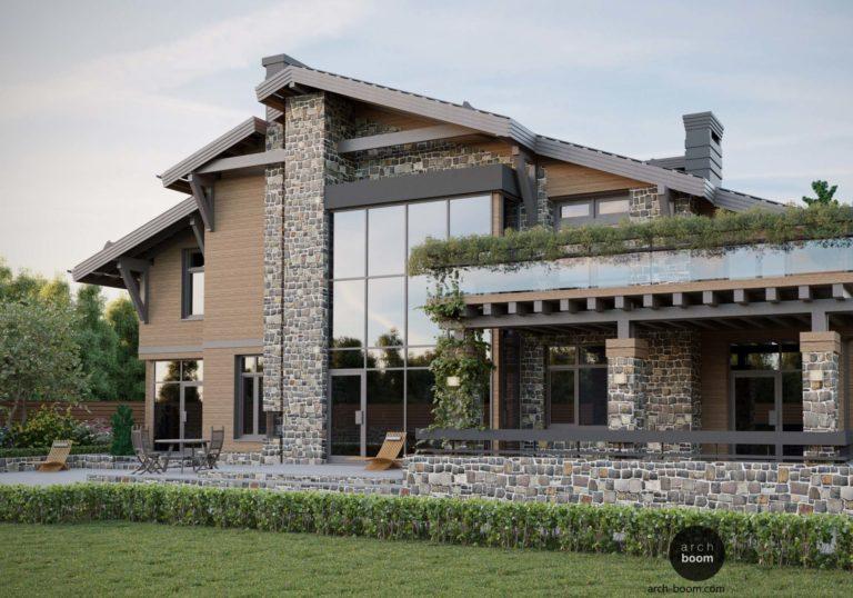 Дом в альпийском стиле с бассейном и баней