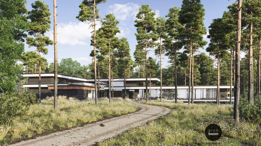 проект частного дома с плоскими крышами  в лесу