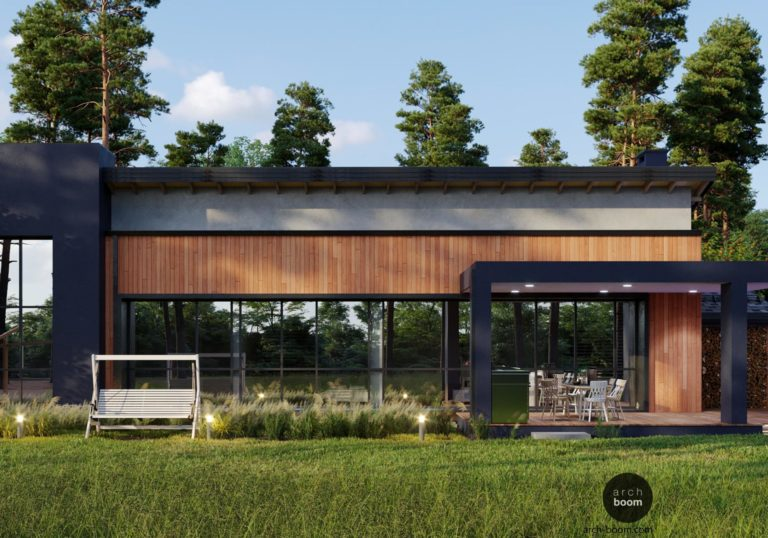 Проект одноэтажного дома с панорамным остеклением южного фасада