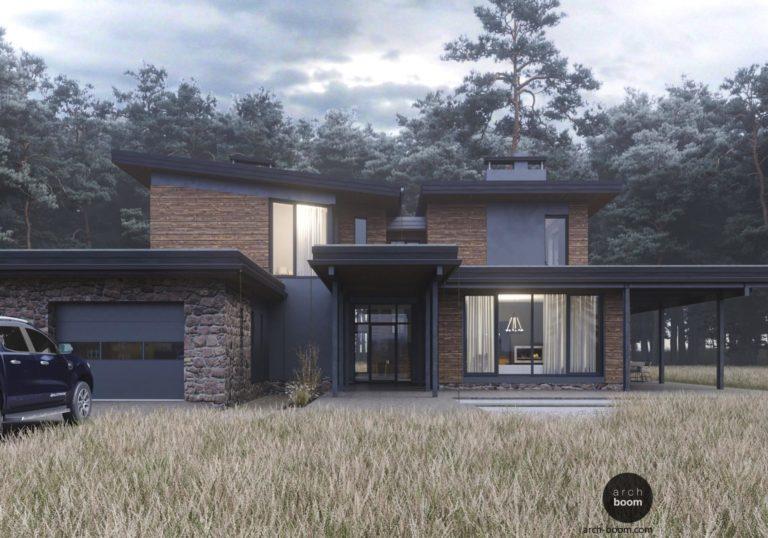 Проект мансардного рустикального дома в поле злаков