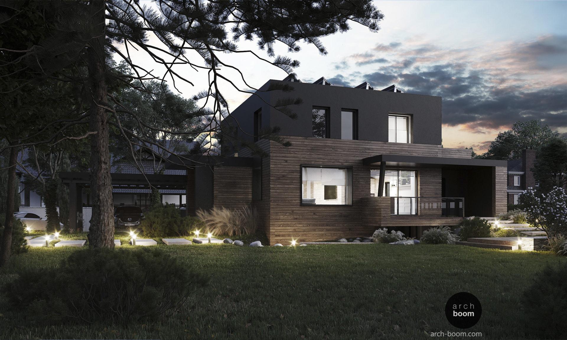 проект дома в дереве с плоской крышей