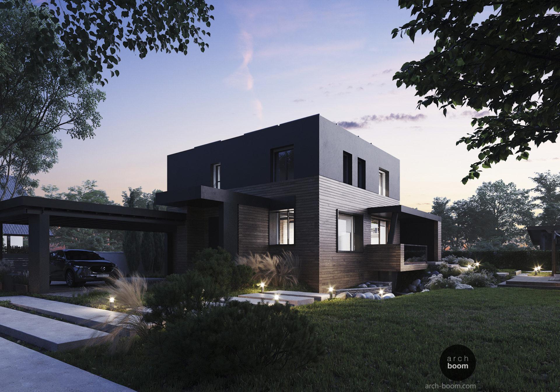 современный частный дом - дерево и графит, плоская крыша