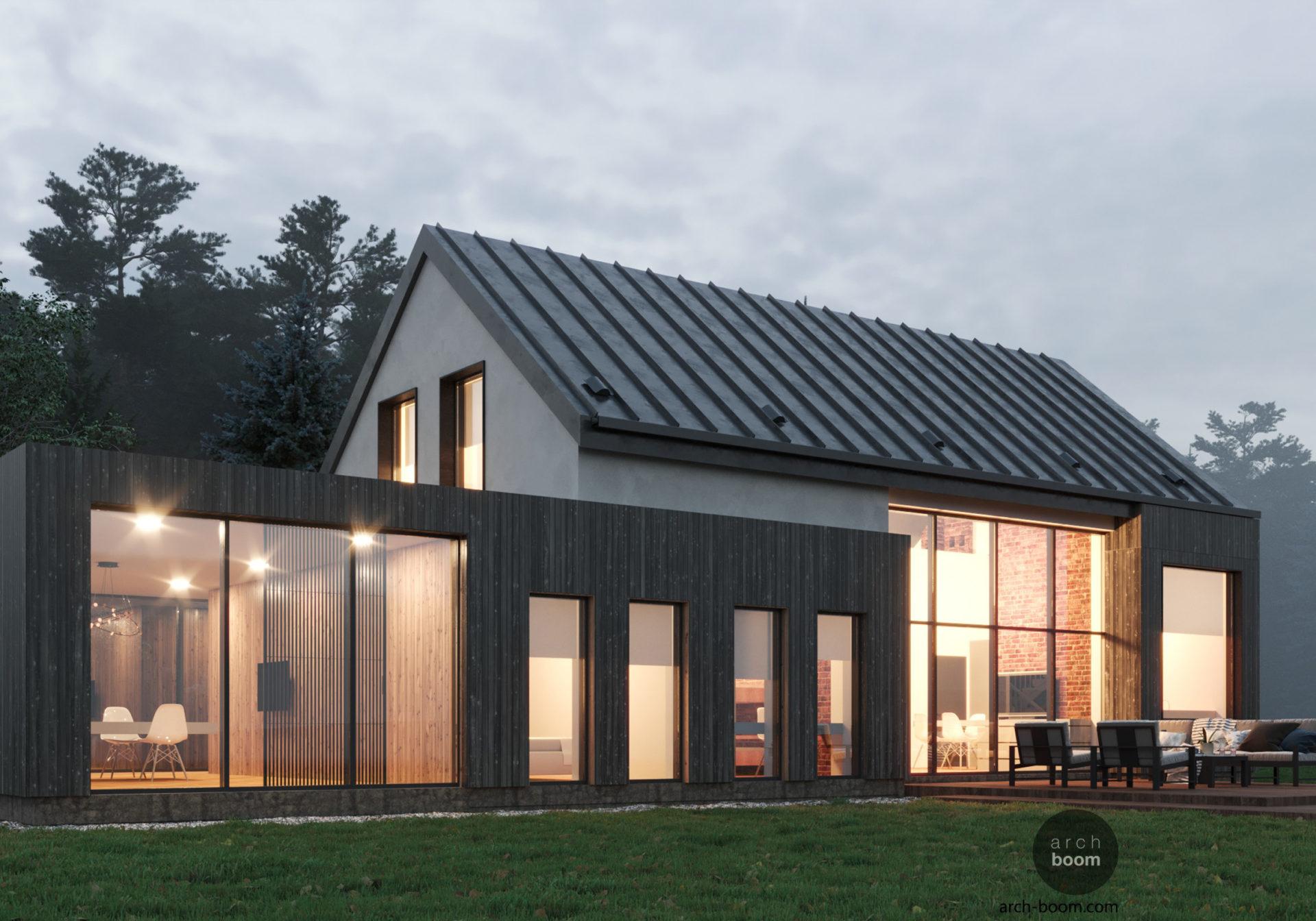 Проект модульного дома с пристроенным офисом