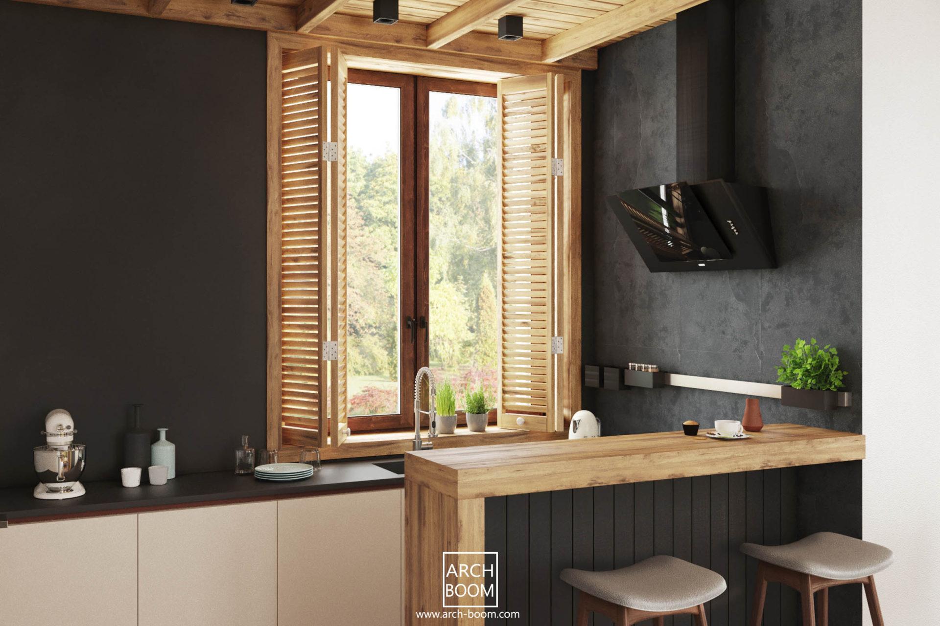 kuchnia czern i drewniane okiennice