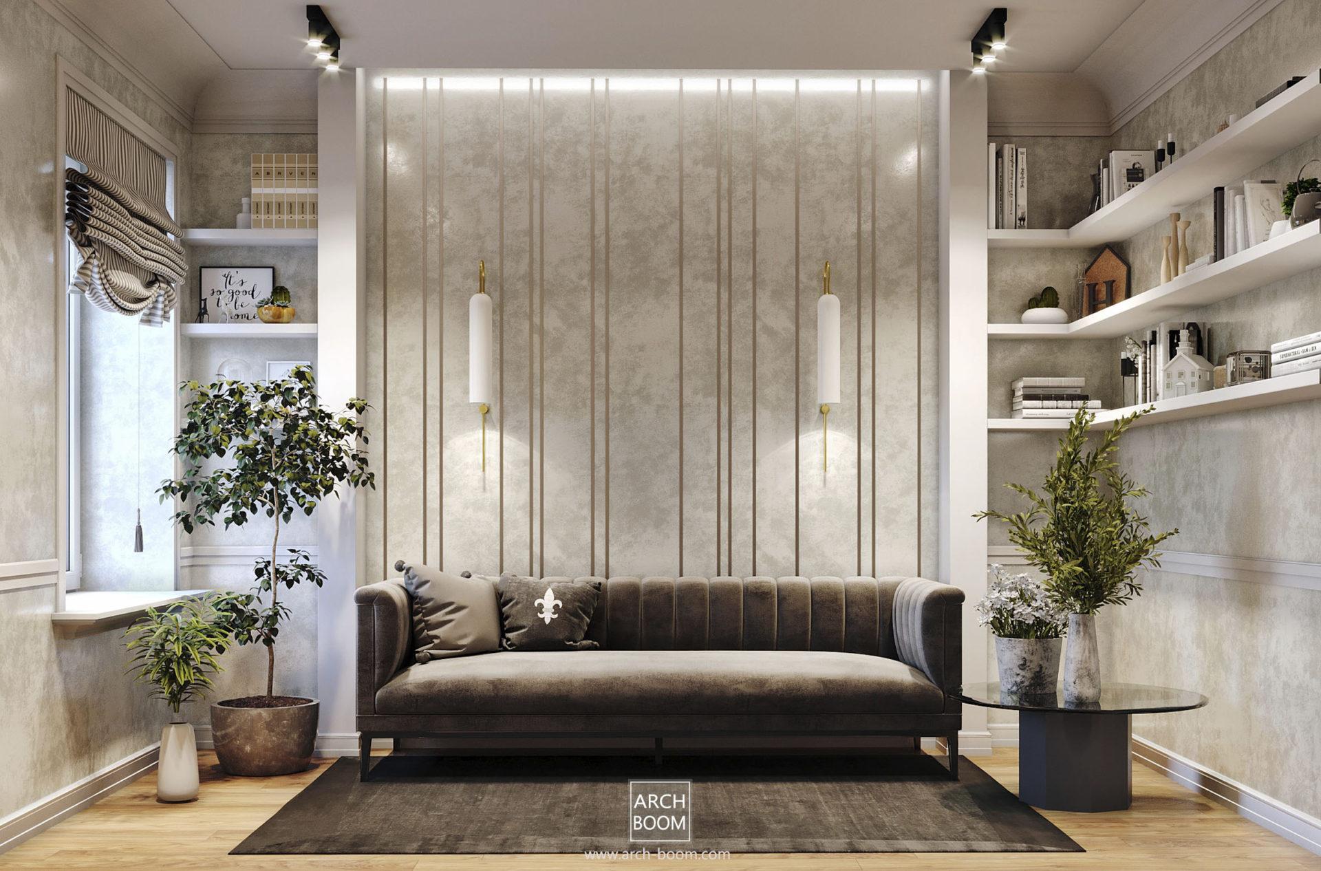 aranżacja strefy z kanapą elegancko
