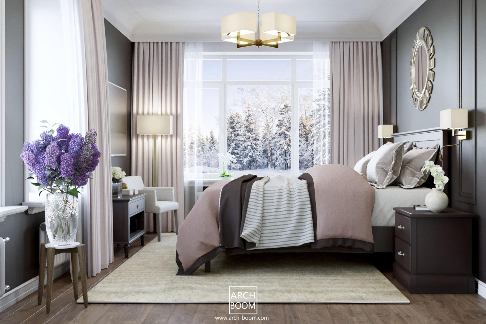 stylowa sypialnia o kolorze czekoladowym