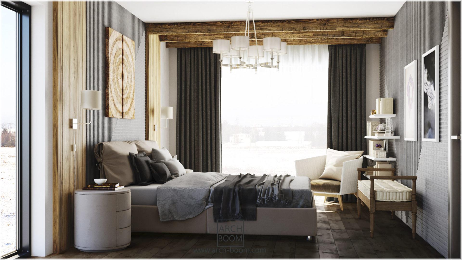drewno i szarosci w sypialni