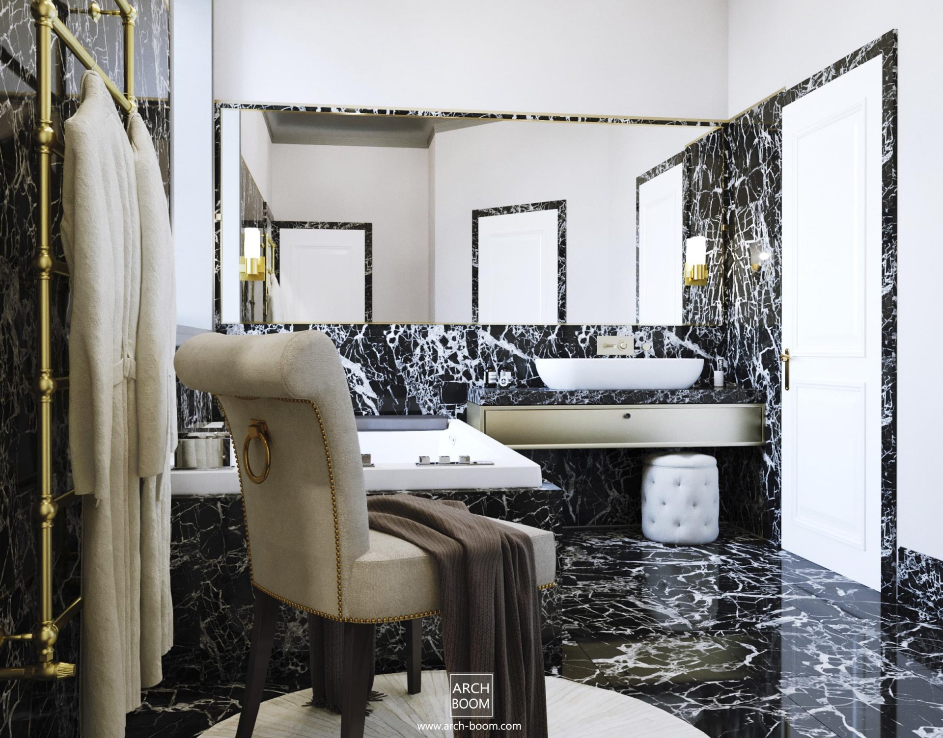 luksusowa łazienka y wanną dwuosobową
