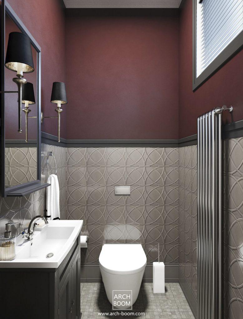 WC z czerwonym akcentem