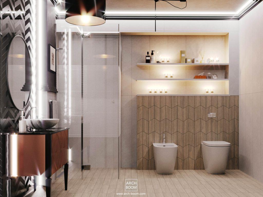 elegancka łazienka z doświetleniem LEDowym