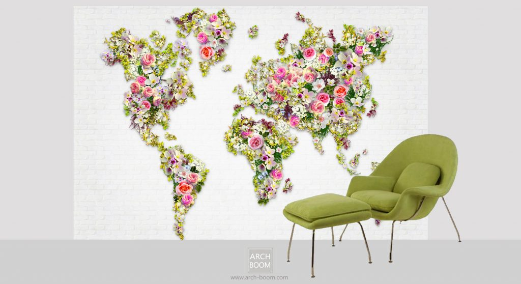 mapa swiatu z kwiatów zielony fotel