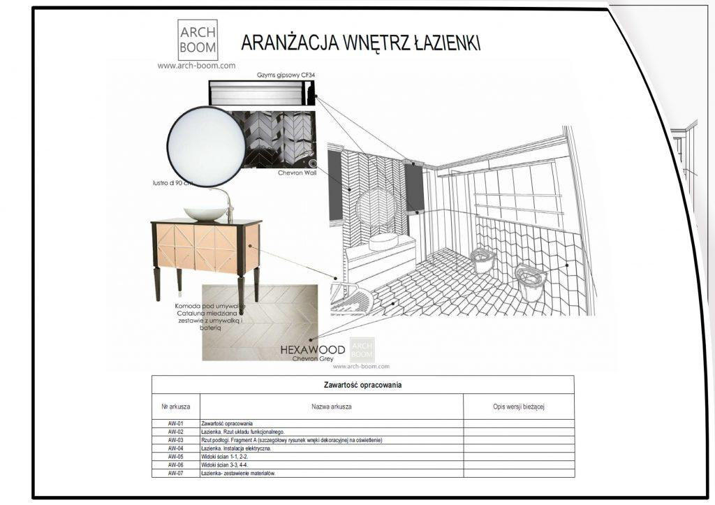 przykładowy projekt aranżacji łazienki