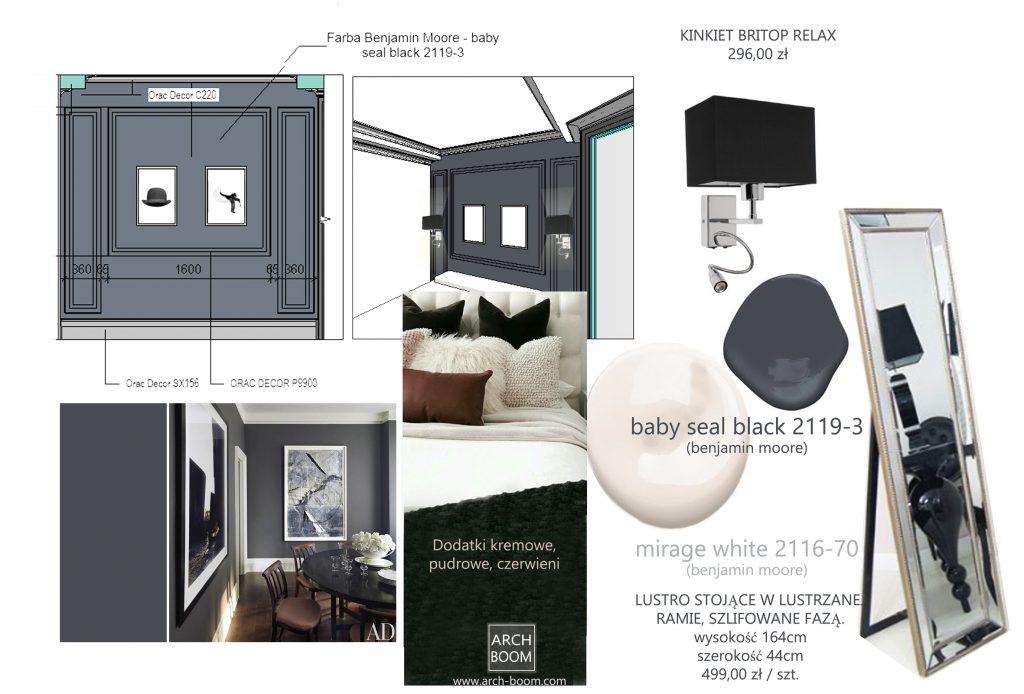 wnętrze sypialni z ciemnym kolorem sciany przy wezgłowiu łóżka w stylu eleganckim