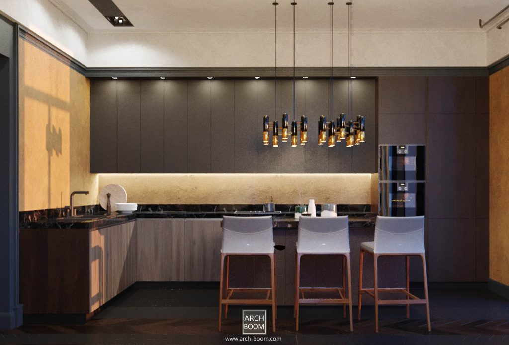 Oswietlenie kuchni górne taśmą LED oraz opraw wiszących