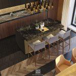 nowoczesna kuchnia z wyspą oraz stołem jadalnianym