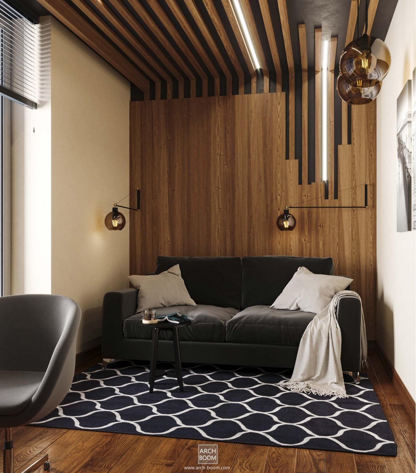 foto pokoju dla gości z drewnem na ścianie
