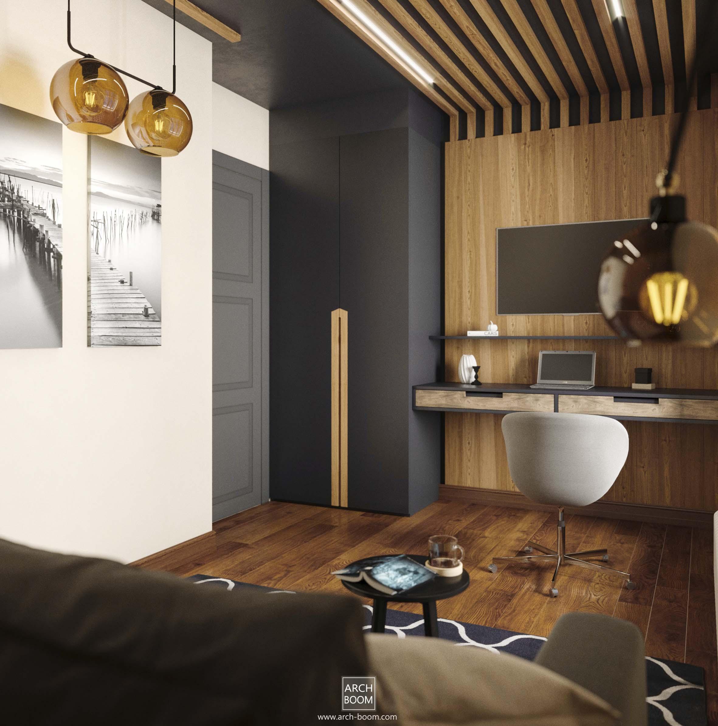 nowoczesne rozwiązanie kanapa syafa i biurko w małym pokoju