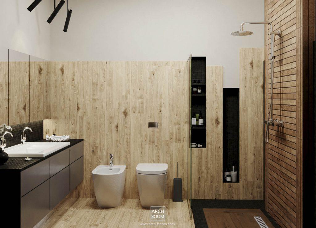 łazienka W Klimacie Drewna Projektowanie Architektoniczne W Polsce