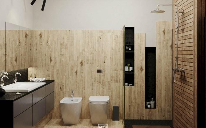 projekt łazienki z płytkami drewnopodobnymi