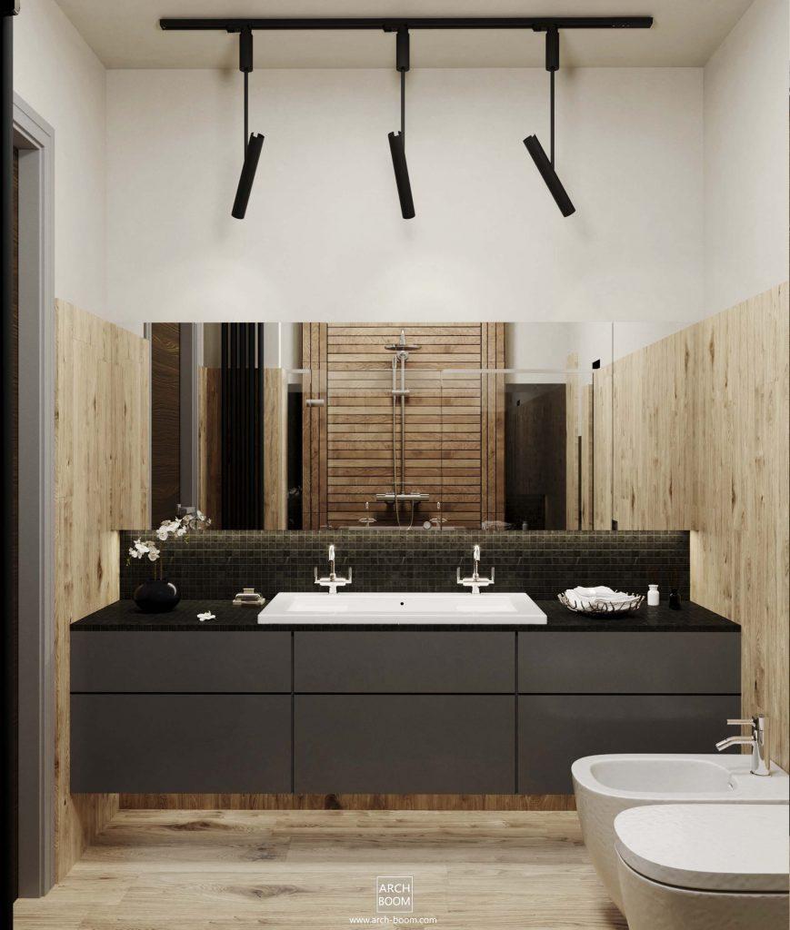 Projekt łazienki z lustrem po całej ścianie