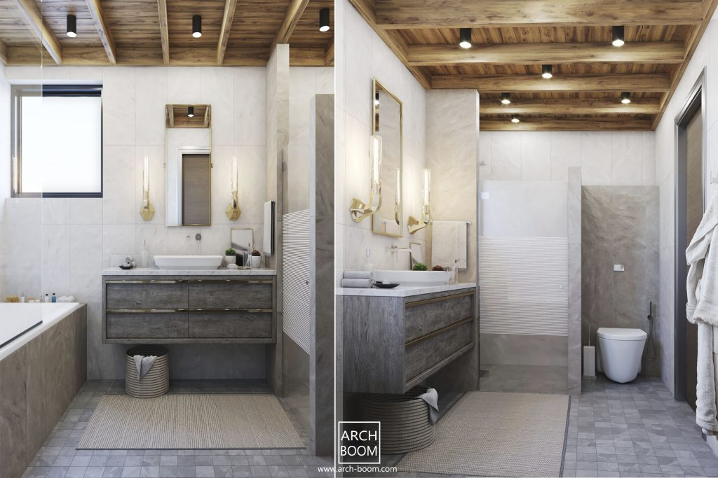 łazienka w szarości i drewno